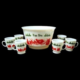 Tom and Jerry Eggnog Milk Glass Bowl, Cups, Hazel Atlas, 1950's