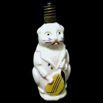 Working Figural Milk Glass Christmas Bulb, Cat Holds Mandolin