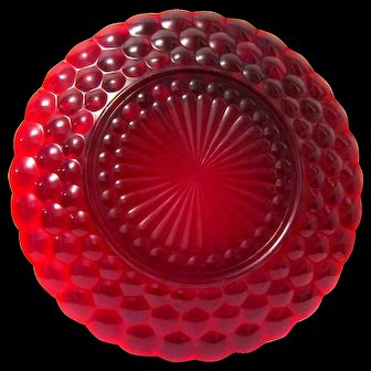 """Four Ruby Red Bubble Pattern Anchor Hocking Glass Plates, 9-3/8"""" Diameter"""