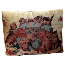 Tapestry Pillow Shows Kittens Playing with Flowers in a Hat Box