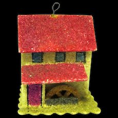 Tiny Czech Putz House/Christmas Ornament with Water Wheel, 1930's