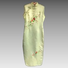 Pale Yellow Lady's Chinese Silk Embroidered Cheongsam