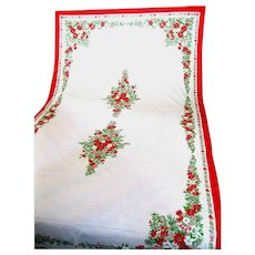 Beautiful Banquet Size Christmas Tablecloth Decorated with Poinsettias
