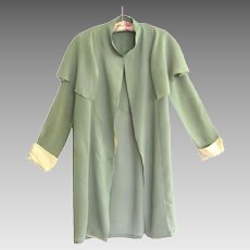 Flapper's Collared Chiffon Evening Coat from the Art Deco Era