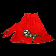 Bright Glittery Hand Made Christmas Party Apron with Birds