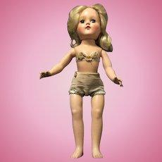 "Beautiful Hard Plastic Ideal 14"" TONI Doll in Original Factory Made Underpinnings"