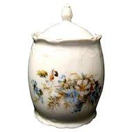 Vintage Porcelain Cracker or Biscuit Jar with Blue Cosmos Decoration