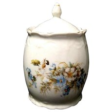Vintage Porcelain Cracker or Biscuit Jar with Blue Cosmos Decoration