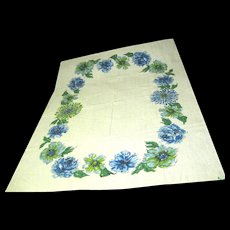 Printed Vintage Floral Tablecloth on Heavy Natural Linen