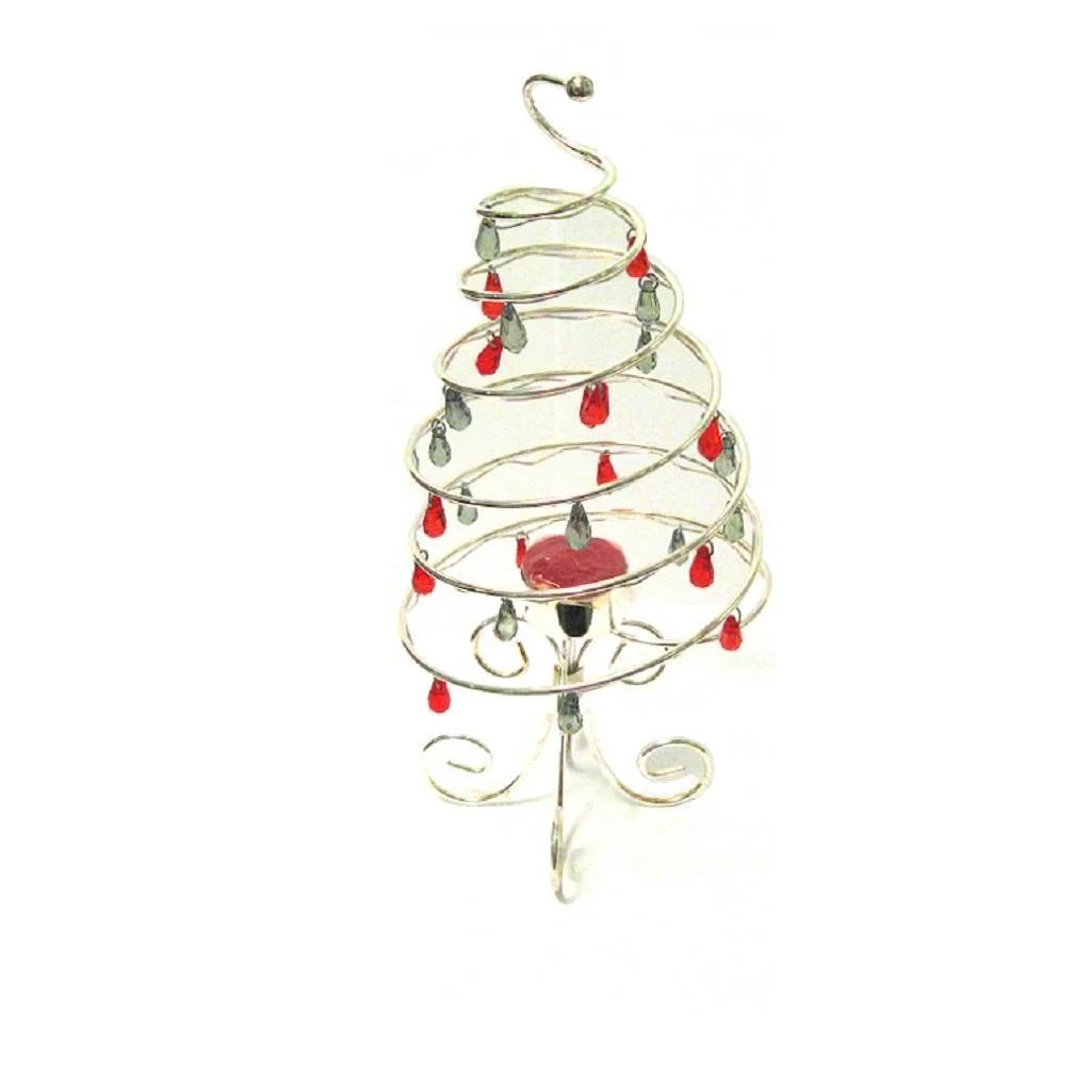 international silver plate spiral christmas tree red green ornaments click to expand - Silver Plated Christmas Tree Decorations