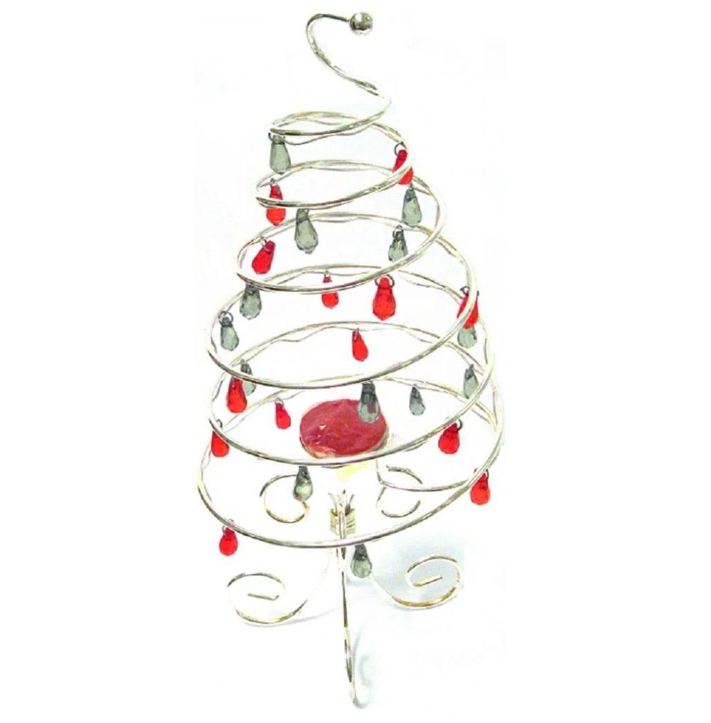 International Silver Plate Spiral Christmas Tree, Red & Green : Toni ...