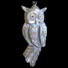 Vintage Abalone Owl Hand Carved Pendant