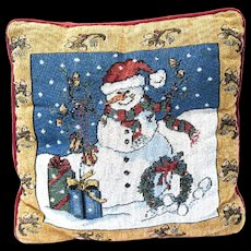 Holiday Tapestry Pillow, Snowman with Wreath and Packages