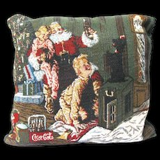 Christmas Tapestry Pillow Shows Coke Santa Claus and Children with Dog