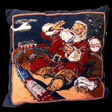 Coke Santa Plays with Model Train on Christmas Themed Tapestry Pillow