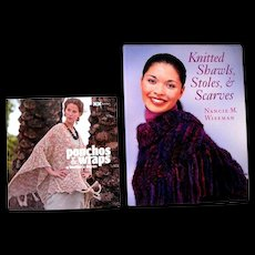 Two Never Used Knitting Instruction Books for Shawls, Stoles, Scarves  and Ponchos