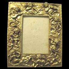 Gilt Photo Frame with Cherubic Angels, Rococo Style