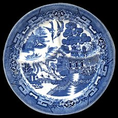 """Heavy Vintage 10"""" Blue Willow Grille Plate, Wellsville China"""