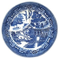 "Heavy Vintage 10"" Blue Willow Grille Plate, Wellsville China"