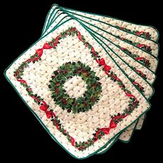 Set of six Quilted Place Mats with Christmas Wreath and Bows