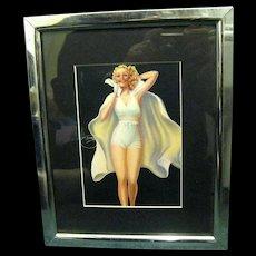 Framed 1939 Pinup Girl, Signed Billy Devorss