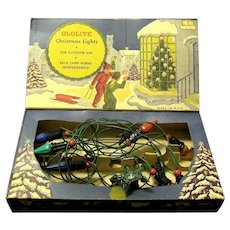 Boxed Glolite String of Christmas Lights, 1940's