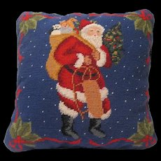 Classy Needlepoint Christmas Pillow Features Santa Claus Carrying Sled