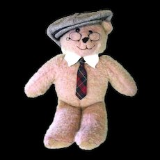 Large Vintage Teddy Bear Wears Pince Nez, Cap, Collar & Tie
