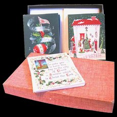Three Different Designs in Unused Boxed 1940's Christmas Cards