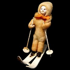 1930's Spun Cotton Skier in Snowsuit Ornament from Japan