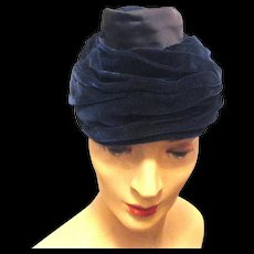 1940's Lady's Draped Turban Style Hat with Perky Cupola on Top