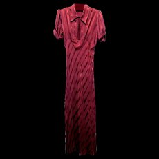 Cranberry Bias Cut Satin Striped Gown with Cuffed Sleeves,1930's