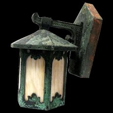 Authentic 1920's Copper Exterior Lantern with Original Patina, Arts & Crafts Movement