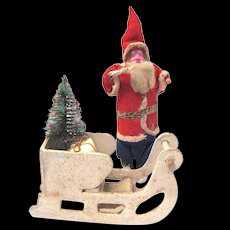 Vintage Clay Face Santa Claus Delivers Tree & Packages in Sleigh