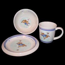 Beatrix Potter's Peter Rabbit Three Piece Wedgwood Ceramic Nursery Set