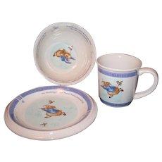 Beatrix Potter's Peter Rabbit Three Piece Wedgwood Ceramic Nursery Set