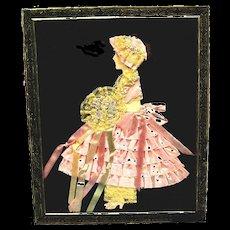 Vintage Ribbon Art Paper Doll Picture in Original Art Deco Design Metal Frame
