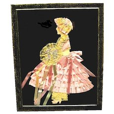 Vintage Ribbon Art Paper Doll Picture in Original Art Deco Design Metal Frame