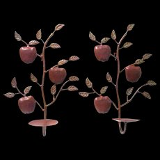 Pair of Enameled Metal Apple Branch  Candle Sconces