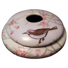 Morimura Bros. Hand Painted Bird on Porcelain Hair Receiver, Nippon