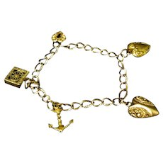 Victorian Gold Filled Charm Bracelet with Puffy Hearts, Anchor