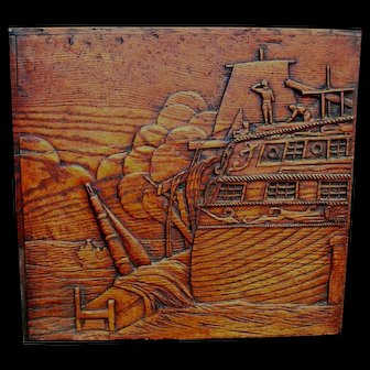 19th Century Hand Carved Wooden Gun Ship at Sea Architectural Panel