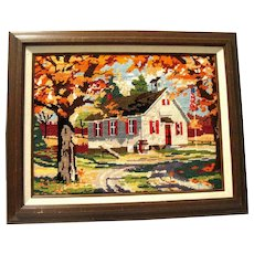 Needlepoint Picture of a Country Schoolhouse, Professionally Framed