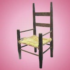 19th Century Doll-Sized ladder Back Armchair