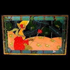 Art Deco Lady on 1920's Advertising Tin Box, Hankey's Supreme Fruit Cake