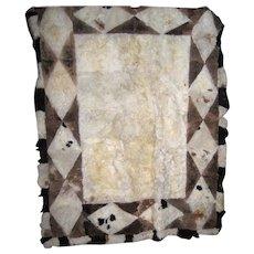 Vintage Hand Made Alpaca Rug with a Diamond Border