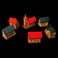 Six Vintage Cardboard Erzgebirge Christmas Houses from Germany