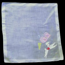 Classy 1950's Appliqued White Poodle Handkerchief
