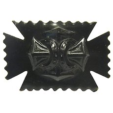 Victorian Celluloid or Other Early Plastic Maltese Cross Mourning Brooch