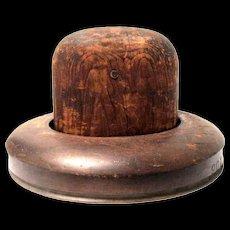 Vintage Two-Piece Wooden Hat Block (Center and Brim)
